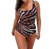 N-B 4/5XL Bañador Natacion Mujer Negra U-Cuello Traje de Baño Una Pieza Verano Escotado por detrás Tallas Grande Rayos Estampado Bikinis Sin Mangas 3 Colores
