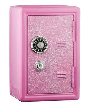 Glitter Safe Bank – Mini Locker with Glitter - Kids Storage Locker (Pink)