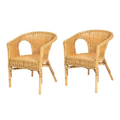 Rotin Design Black Friday Week : -40% Lote de 2 sillones de Mimbre Chris Miel Moderno y Barato