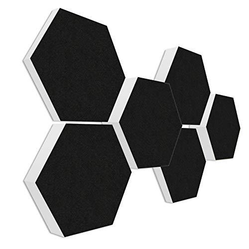 Basotect G+ Schallabsorber 3D-Set < 6 Elemente Ø30cm - Diverse Farben (Schwarz)
