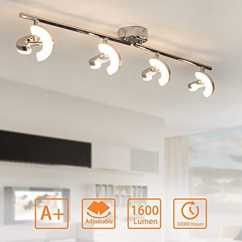 PADMA LED Deckenleuchte Küche Warmweiss, Deckenlampe Schlafzimmer Modern Innen 4X5W 1600LM 3000K Hell Schwenkbar für Wohnzimmer Schlafzimmer Küche Badezimmer Büro