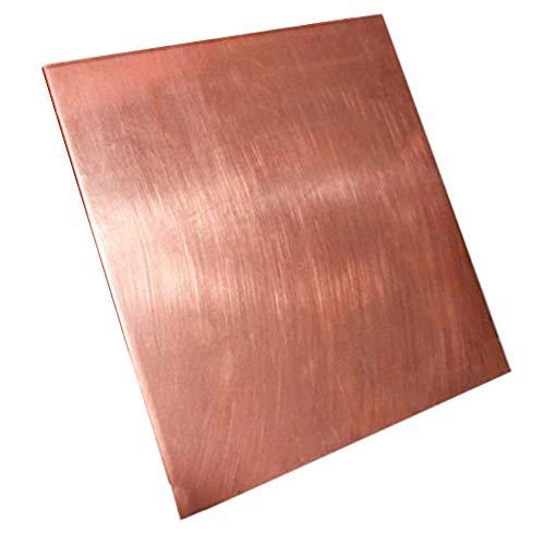 Axwadf Hoja de Cobre Puro DIY Material Hecho a Mano T2 CU Placa de Metal para la Industria Molde o Arte de Metal, Espesor 2mm,Size 200x200mm