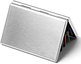 HONB Aluminum Wallet Credit Card Holder RFID Blocking Card Case Women Men (Silver)