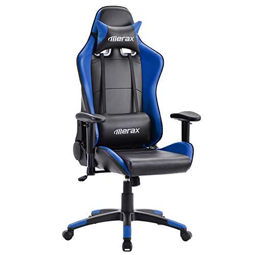 Merax Silla Gaming Profesional, Silla de Computadora, Silla de Juego Ergonomico, Reposabrazos Ajustable,Azul