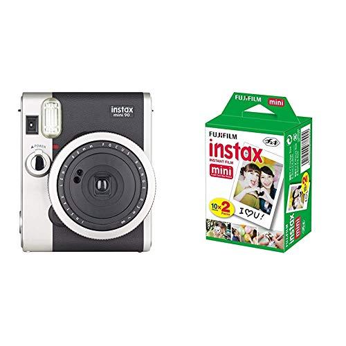 Fujifilm Instax Mini 90 Neo Classic, Color Negro + m Instax Mini Brillo - Pack de 40 Películas Fotográficas Instantáneas (40 Hojas), Color Blanco