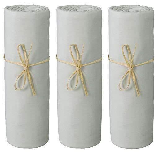 P'tit Basile 3 x Spannbettlaken für Babys, Jersey, Bio-Baumwolle, 70 x 140 cm, Perlgrau, hochwertige gekämmte Baumwolle, Rundumgummizug und 4 Ecken.