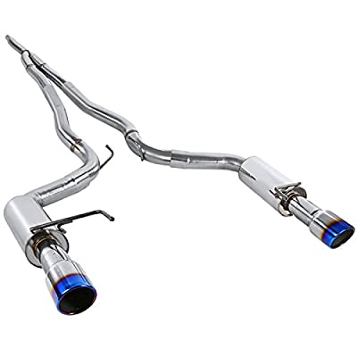 Spec-D Tuning 2.3L Ecoboost Catback Exhaust System Stainless Steel Burnt Tip for 2015-2018 Mustang