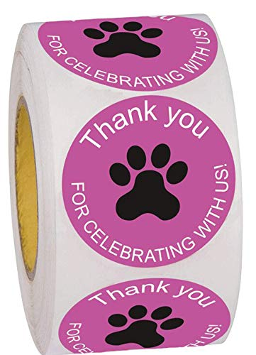 """1.5"""" Pink Dog Cat Animals Paw Print Thank You for Celebrating with Us Stickers Baby Shower Birthday Favor Sticker Labels 500 Round Thank You Labels Per Roll"""