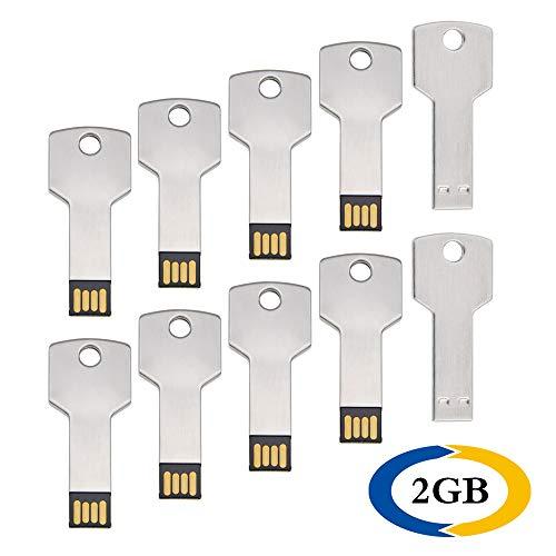 10 Pezzi 2GB Chiavette USB 2.0 Forma Chiave Unità Flash Drive By Uflatek Metallo 2 GB Pen Drive Impermeabile Chiave USB Argento Pennetta USB una Bella Idea Regalo