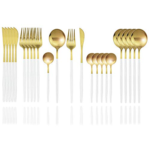 JASHII Matte Silverware Set, 24-Piece Stainless Steel Flatware Cutlery Set for 6, Ideal for Home Wedding Festival Party, Dishwasher Safe (White Handle Gold)