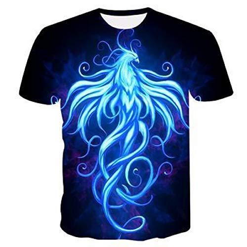 Men's t-Shirt 3D Printed Blue Spirit Beast Men and Women Couple Shirt Short-Sleeved Tops Summer Fashion Cool t-Shirt