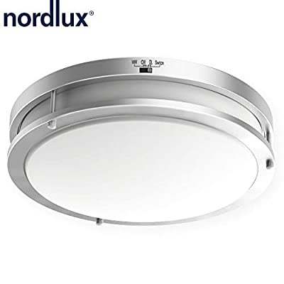 14 inchDimmableLED Flush Mount Ceiling Lights Fixtures,24W 1560LM 3/4/5000K Color Changeable Round Glass Shade Lamp, Energy Star Listed Flushmount