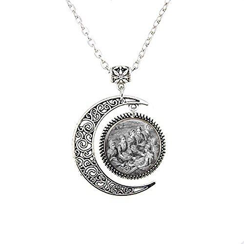 qws Scottish Gaelic Fulling Women - Waulking Song - Vintage Engraving - Women Singing - Wool Fulling - Wool Footing - Vintage Gaelic Moon Necklace
