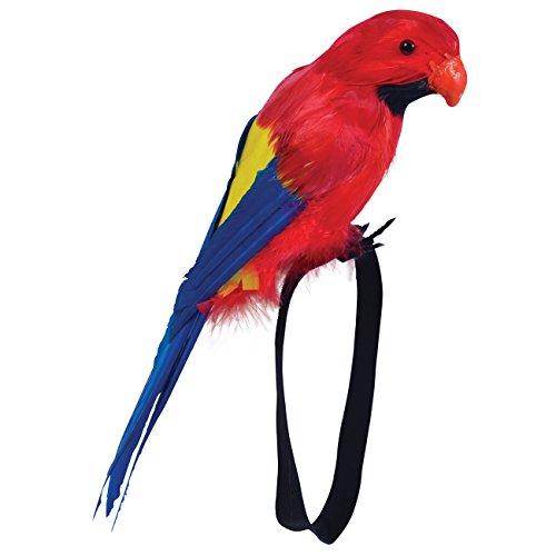 Spassprofi Bunter Papagei mit echten Federn Dekoration Südsee Seeräuber Pirat Hawaii