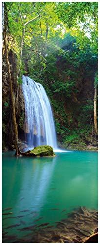 Wallario Acrylglasbild XXL Wasserfall im Wald am See Idylle in Thailand - 80 x 200 cm in Premium-Qualität: Brillante Farben, freischwebende Optik