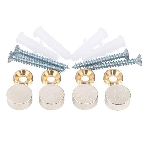Spiegelschrauben, Messingkappe, dekorative Spiegelnägel, Durchmesser 15 mm, Satin-Nickel, 4 Stück