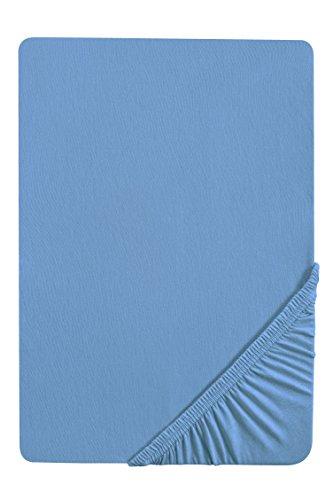 #16 biberna Jersey-Stretch Spannbettlaken, Spannbetttuch, Bettlaken, 90x190 – 100x200 cm, Azurblau