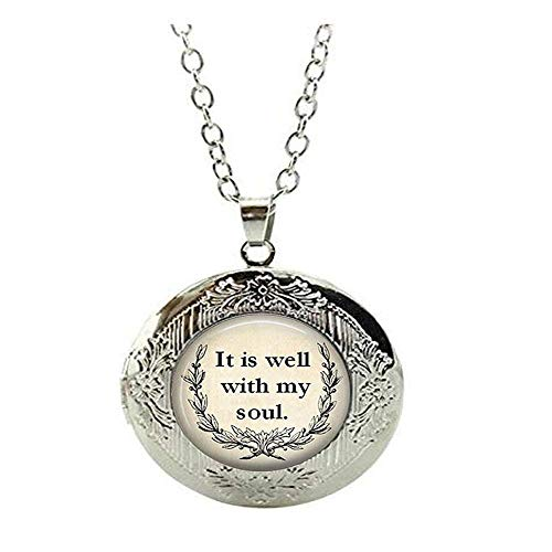 Inspirational Locket Necklace, Religious Jewelry'It is Well with My Soul' Locket Necklace, Soul Jewelry