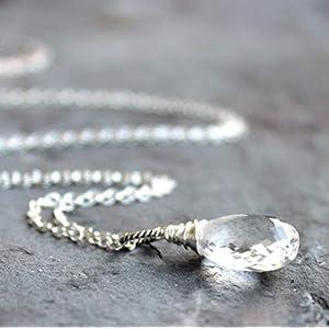 Quartz Crystal Necklace Sterling Silver Faceted Clear Gemstone Briolette Pendant 20 Inch Length