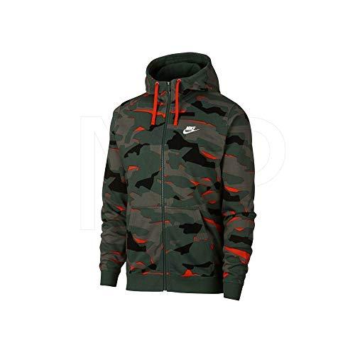 Nike Herren M NSW Club Camo Hoodie Fz Ft Sweatshirt, Tanne/Tanne/Weiß, M