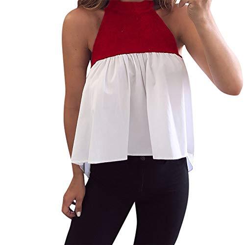 FELZ Blusas para Mujer Elegantes Tallas Grandes Camisetas Personalizadas Camiseta sin Mangas de Patchwork de Moda Blusa Suelta de Verano Camisa de Fiesta Blusa Playa Verano