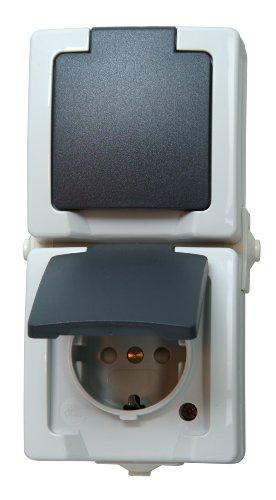 Kopp 136956008 Nautic Steckdose für Feuchtraum, 250 V, grau