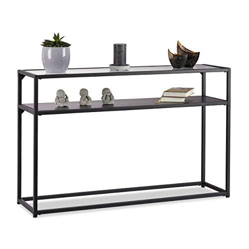 Relaxdays Konsolentisch Glas, transparente Tischplatte, Metallgestell, Ablage, 4-beinig, HxBxT: 70,5x110x30 cm, schwarz
