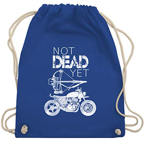 Shirtracer Statement - Not Dead Yet - Motorrad Armbrust - Unisize - Royalblau - armbrust tasche - WM110 - Turnbeutel und Stoffbeutel aus Baumwolle