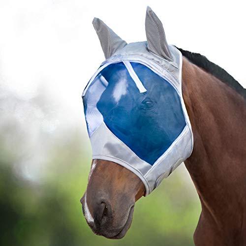 Harrison Howard CareMaster Fliegenmaske UV-Schutz mit Ohrenschutz Hawaiian Blau Vollblut (M)