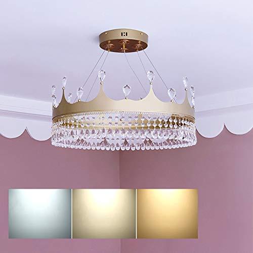 Lámpara Araña Infantil Cristal LED Creatividad Diseño Corona Lámpara Habitación Infantil Lámpara Colgante Dormitorio Ajustable Tricolor Luces Infantiles de Cristal de Aluminio y Acrílico Ø60 cm