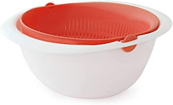 Reverse Mixing Bowl - Multi function Mixing Bowl with Strainer Colander (Orange) Made in Korea