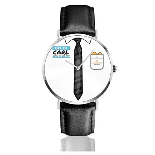 Unisex Business Casual Billy Madison Oh Hola Carl Relojes Reloj de Cuero de Cuarzo