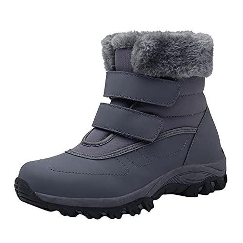 JDGY Plus - Botas de nieve para mujer, botas de invierno impermeables y planas, forradas, cálidas, de algodón, con cierre de velcro, gris, 38 EU