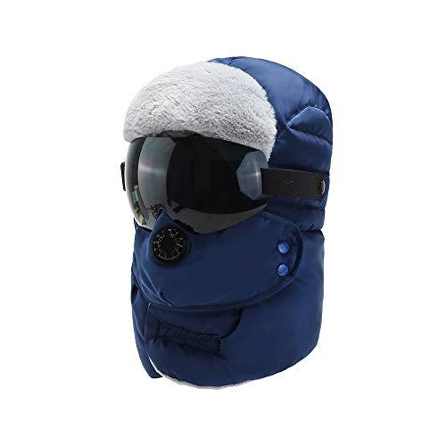 WSZDKA-WOMENBELT Chapka Homme Trappeur Bomber Casquettes avec Masque DéTachable Anti-Vent Anti-PoussièRe Unisexe Chapeau Chaud pour Ski Snowboard VéLo Moto 22-23,5 Pouces Bleu (Lunettes Noires)