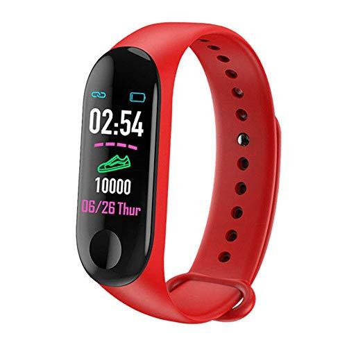 Monitor de actividad física, pantalla de color, reloj inteligente, monitor de presión arterial, monitor de frecuencia cardíaca, contador de pasos de pulsera inteligente, resistente al agua IP65, rojo