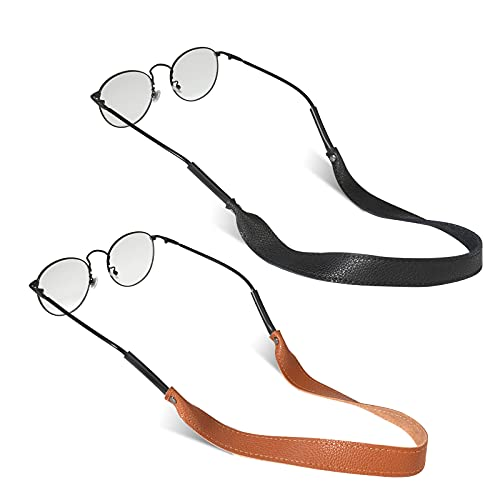 HIFOT Leather Eyeglasses Strap 2 Pack, Sunglasses Strap Eyewear Retainer, Genuine Leather Glasses Chains Lanyards String Spectacles Cord for Women Men