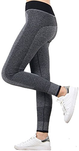 "U.S. CROWN Women's Stretchable Yoga Pant Gym Legging Tights (Waist: 24"" to 32"" Length: 35"") Grey-L"