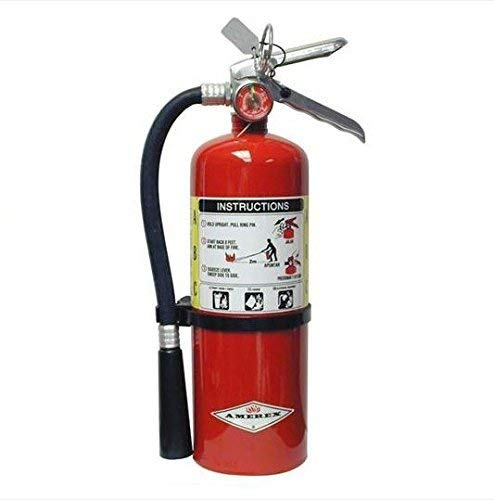 Amerex B500, 5lb ABC Dry Chemical Class A B C Multi-Purpose 5 Pound Fire Extinguisher with Wall Bracket, Mobile Deals Sticker Sign and Blank Inspection Tag