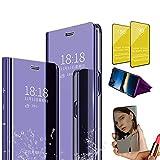 Jtailhne Compatible con Funda Huawei Y8S, PU PC TranslúCido Flip Espejo Carcasa Ver Fecha/Hora, Despertar Inteligente, Plegable Soporte Case PúRpura+2X Cristal Templados