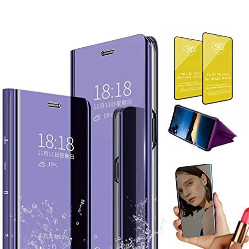 Jtailhne Compatible con Funda Samsung Galaxy J7 2018, PU PC TranslúCido Flip Espejo Carcasa Ver Fecha/Hora, Despertar Inteligente, Plegable Soporte Case PúRpura+2X Cristal Templados
