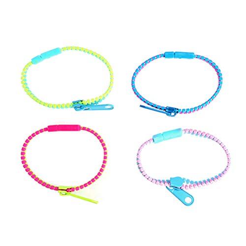STOBOK 4 Stück Kinder Reißverschluss Armband Zipper Armreif Kinderschmuck Kindergeburtstag Weihnachten Geschenk Mitgebsel Spielzeug (Zufällige Farbe)