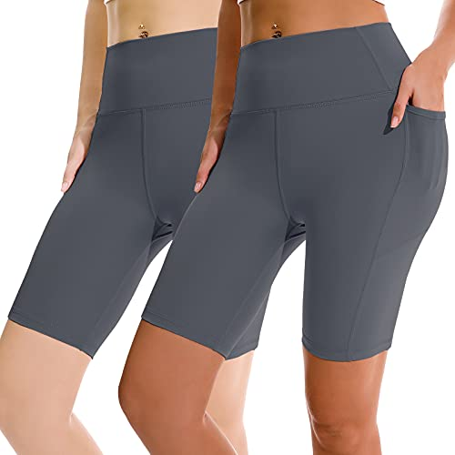 BALEINE 2Pack Bike Shorts for Women High Waist, Running Yoga Gym Workout Compression Shorts with Side Pockets, XS, Slate