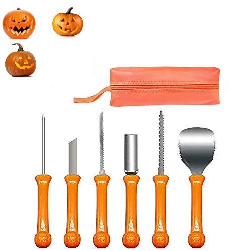 HIQE-FL 6Stück Kürbis Schnitzset Kit,Edelstahl Halloween Kürbis Schnitzwerkzeug,Kürbis Schnitzwerkzeuge,Jack-O-Lantern für Kinder Halloween Dekoration