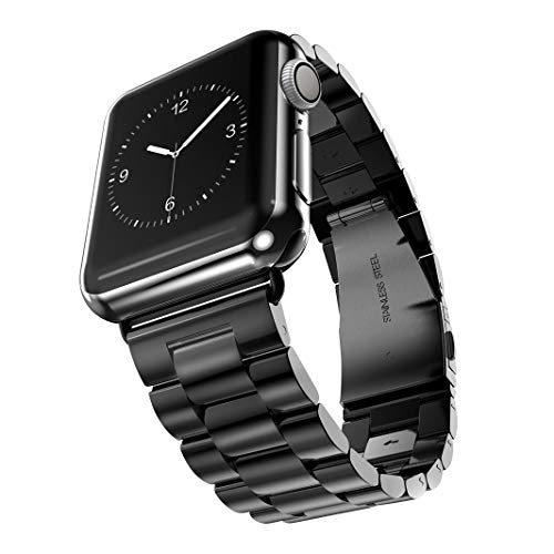 Watch Armband 38mm 40mm Kompatibel für Apple Watch 5 4 3 2 1, iWatch Armband Prämie Edelstahl Uhrenarmband Armband Metallhaken Kompatibel für Apple Watch Alle Modelle 38/40mm(Schwarz)