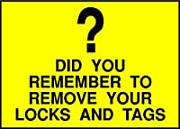 Remember to Remove Your Locks and Tags Caution メタルポスター壁画ショップ看板ショップ看板表示板金属板ブリキ看板情報防水装飾レストラン日本食料品店カフェ旅行用品誕生日新年クリスマスパーティーギフト