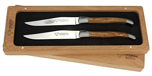 Laguiole en Aubrac - 2er Set original Laguiole Steakmesser aus Frankreich - Griffschalen Pistazien-Holz - Tafelmesser