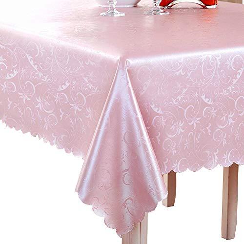 Imperméable, Résistant à l'huile nappe rectangle Nappe polyester Parfait pour les dîners, Noël, F, Ou utilisez tous les jours-rose 140x200cm(55x79inch)