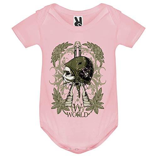 LookMyKase Body bébé - World War Symbol - Bébé Fille - Rose - 12MOIS