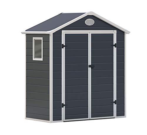 GARDIUN KSP38120 - Caseta de Resina Arabela - 1.92 m² Exterior 102 x 188 x 225 cm Antracita/Blanco
