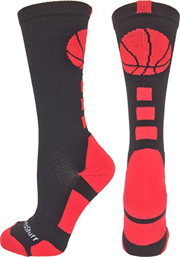 MadSportsStuff Basketball Logo Athletic Crew Socks, Small - Black/Scarlet